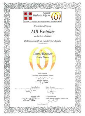Eccellenza Artigiana 2009 - MB Pastificio artigianale